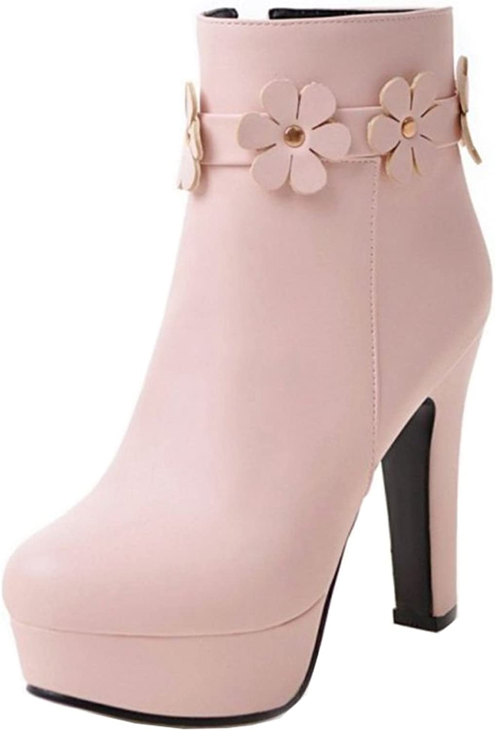 Smilice Women Dressy High Block Heel Zip Platform Ankle Booties with Sweet Flower Strap Beige