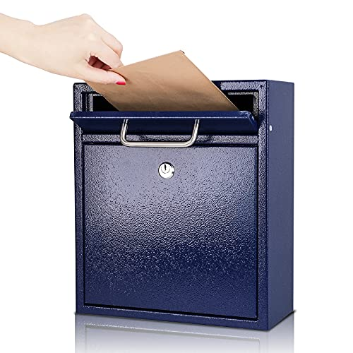 KYODOLED Steel Key Lock Mail Boxes Outdoor,Locking Wall Mount Mailbox,Security Key Drop Box,12Hx 10.51Lx 4.68W Inches,Blue Large
