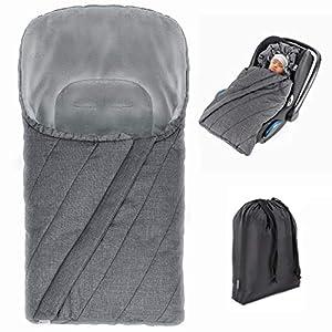 Zamboo Saco de invierno 3M para Grupo 0+ / Saco para silla de coche con forro térmico Thinsulate, capucha y bolsa – gris…
