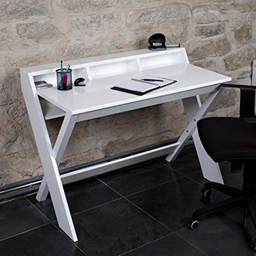MDS Le bureau RAVENSCROFT, ultra-fonctionnel, finition chêne et noyer - - COMPACT- Laqué blanc - 110 x 60 x 84 cm (Longueur x profondeur x hauteur)