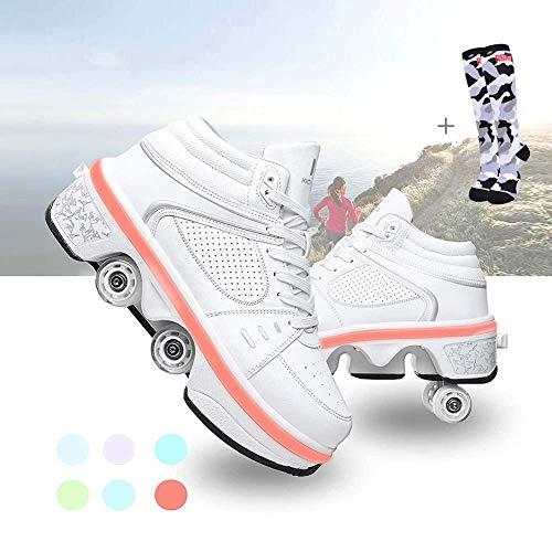 COOLBOY 2-in-1 Rollschuhe für Damen, 7 Farben Multifunktionale Verformung Rolle Schuhe Unsichtbare mit USB Aufladen Blinken Leuchtend Outdoor-Sportarten Gymnastik Rollerblades Sneaker,43