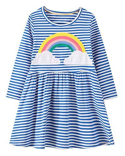 Beilei Creations - Vestido para niña de algodón, bordado casual, talla 85 – 130 Muñeco de nieve 85 cm/24 meses