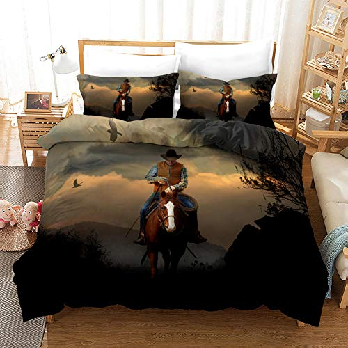 aakkjjzz Superking Duvet Covers Easy Care Hypoallergenic 3 Pcs Bedding Set Microfiber Machine Washable Quilt Cover 220X260cm And 2 Pieces Pillowcases 50X75cm Cowboy for Super King Size Bed