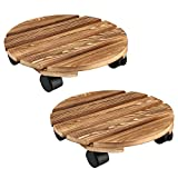 OAK LEAF Plant Caddy with Wheels, 12 Inch Plant Stand Plant Dolly, Round Wood with 360 Rotating Caster and Lockable Wheels, Plant Mover for Indoor, Outdoor, Garden
