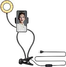 Ringlicht, 2 in 1 met houder voor mobiele telefoon Selfielichtring 3 Lichtmodus 10 Helderheidsaanpassing Flexibele lange a...