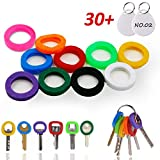 VIC VSEE InterUS Key Caps Covers Tags, 30 Pcs, Key Cap Sleeve Rings Key Identifier Rings Label ID Perfect Coding System to Identify Your Key in 10