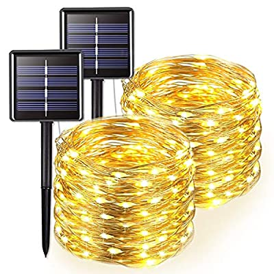 JMEXSUSS Warm White Solar Fairy Lights, 200 LED 65.5ft Solar String Lights, 2 Pack 8 Modes Waterproof Copper Wire Lights for Home, Outdoor, Garden, Patio, Wedding, Party, Christmas Decoration