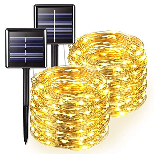 JMEXSUSS 2 Pack 66ft 200 LED Solar String Lights Outdoor Waterproof, Warm White Solar Christmas Lights, 8 Lighting Modes Silver Wire Solar Fairy Lights for Xmas, Trees, Garden, Patio, Wedding, Party