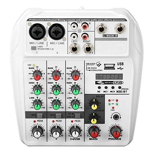 Tablero de efectos de sonido Registro de la consola de mezcla de sonido, 48V PHANTOM POWER, MONITOR AUX PANTALONES PLUS EFECTOS, 4 canales Mezclador de audio con USB para profesionales y principiantes