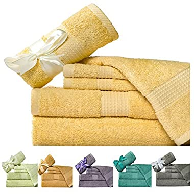 Weavely 600 GSM 6-Piece Cotton Bath Towel Set, Butter Yellow