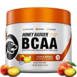 Honey Badger Vegan Keto BCAA + EAA Electrolyte Powder | Peach Mango | Natural Gluten Free Amino Acids Essential Aminos Sugar Free + Sucralose Free | 30 Servings