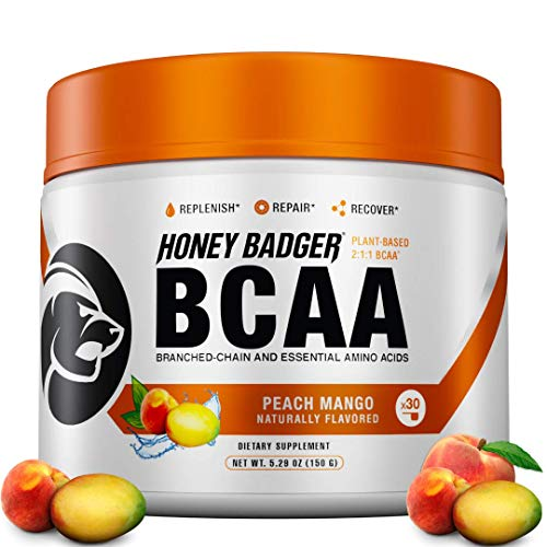 Honey Badger Vegan Keto BCAA Lean + EAA Electrolyte Powder | Peach Mango | Natural Gluten Free Amino Acids Essential Aminos Sugar Free + Sucralose Free | 30 Servings