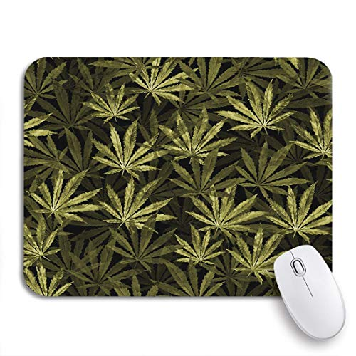 Gaming mouse pad menge cannabisblätter auf aquarell die pflanze sativa rutschfeste gummi backing computer mousepad für notebooks maus matten