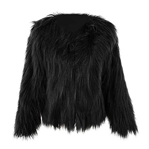 mioim Damen Jacke Faux Pelz Langarm Winter Warm Kunstfur Jacket Kurz Mantel Felljacke Tops