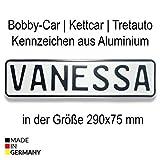 Bobbycar Kettcar Tretauto Namensschild Kennzeichen nach ihrem Wunsch geprägt reflektierend Top Geburtstags-Geschenk