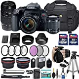 Canon EOS Rebel T7i 24.2 MP DSLR Camera with Canon EF-S 18-55mm f/4-5.6 is STM Lens + Tamron 70-300mm f/4-5.6 Di LD Lens + 2 Memory Cards + 2 Aux Lenses + 50' Tripod + Accessories Bundle (24 Items)