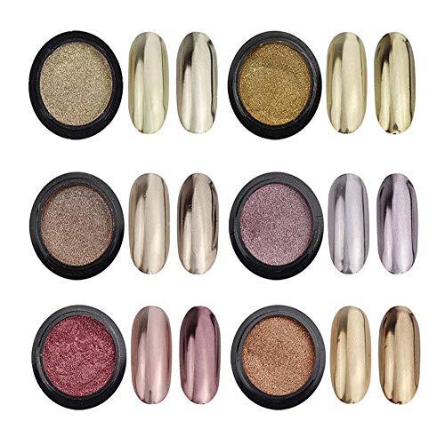 6 Jars Chrome Nail Powder Metallic Nail Art Powder Mirror Effect Manicure Pigment 6 Colors Nail Powders with 6 Pcs Eyeshadow Sticks, 1g/Jar