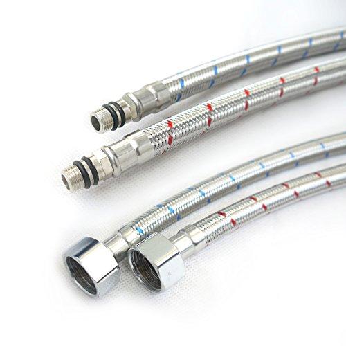 Grand Taps Stahlflexschläuche, 900 mm, für Waschbecken und Küchenmischbatterien, 10 mm Durchmesser, 2 Stück
