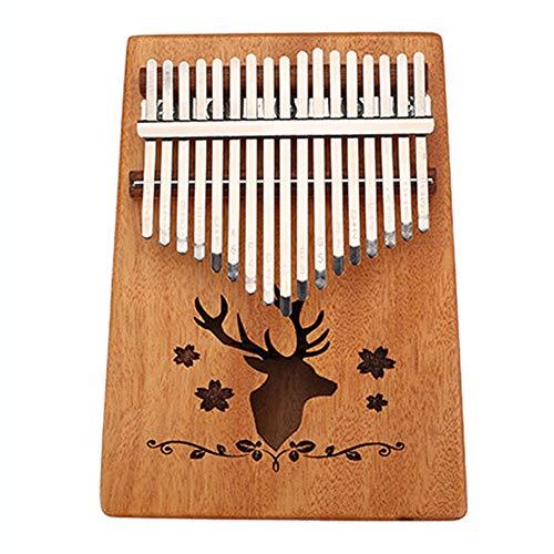 Daumenklavier Kalimba 17 Schlüsseldaumenklavier Reindeer Mahagoni Mit Study Unterricht und Tune Hammer Multicolor Optional für Erwachsene Kinder Beginnersr (Color : Natural, Size : 18.3x12x3.5 cm)