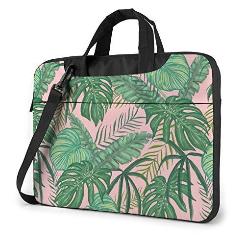 15.6 inch Laptop Shoulder Briefcase Messenger Tropical Green Leaf Tablet Bussiness Carrying Handbag Case Sleeve