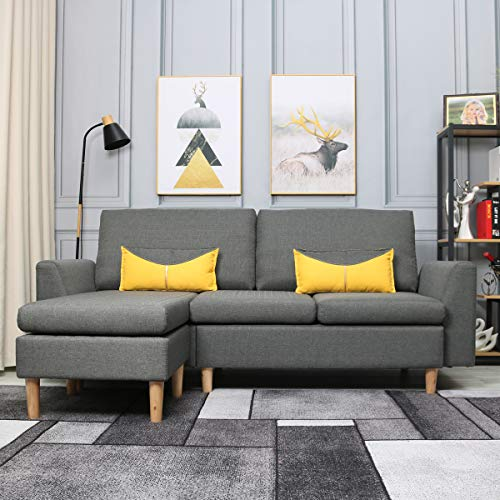 Best-Living Furniture Modern Linen Fabric L-Shaped Small Space Sectional Sofa with Stool, Reversible Chaise, in Grey