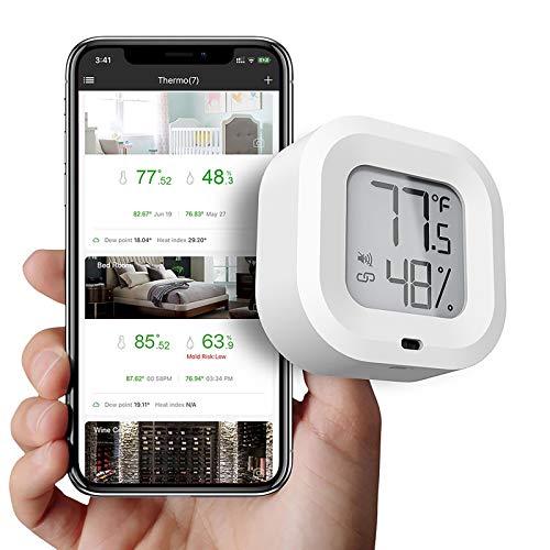 FreeLeben Inalámbrico Termómetro Higrómetro Mini Bluetooth 5.0 Interior Sensor De Temperatura De Humedad con Exportación De Datos, Función De Alarma, para Casa, Vino Puro, Sala De Estar