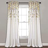 Lush Decor Weeping Flowers Room Darkening Window Panel Curtain Set (Pair), 84' x 52', Yellow & Gray
