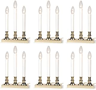 Darice 6204-03 Electric 3 Light Brass Plated Sensor Window Candle Candolier - Quantity 6