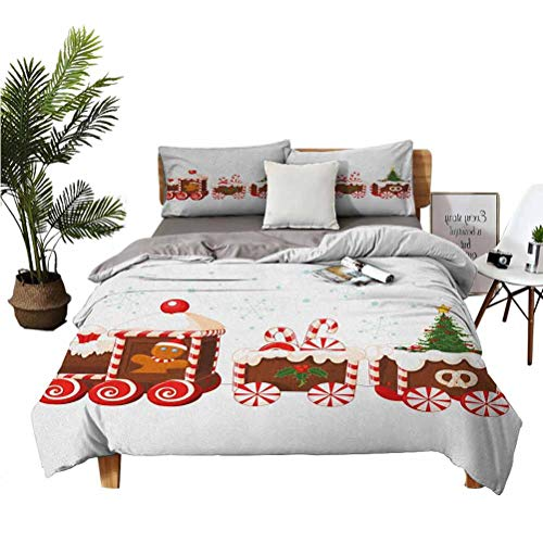 SUZM Christmas Luxury Family Microfiber Suit 3-Piece Set Train with Gingerbread Cream Candy Cartoon Toys Snowflakes Presents Super Soft Anti-Wrinkle Fade Breathable Queen(90''x90'') Pillowcas
