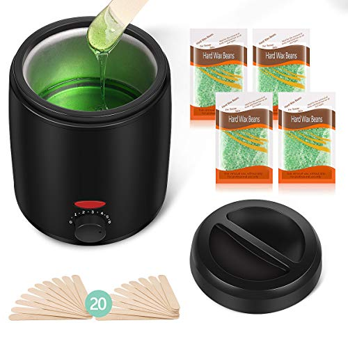 Waxing Kit for Women Professional Wax Kit Wax Warmer for Hair Removal Small At Home Wax Machine Hot Hard Scented Wax Beads Warmer for Bikini Area Brazilian Eyebrows Legs Armpit Face