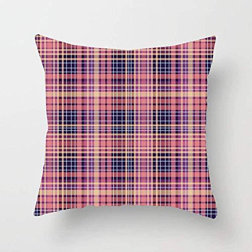 Patrón de estilo de trama de materia de fondo azul tejido abstracto jaula rosa vestido de cruce de células prendas de vestir funda de almohada de algodón suave decoración del hogar funda de al
