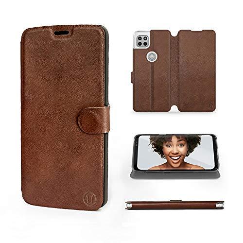 Mobiwear   Echt Lederhülle   Kompatibel mit Motorola Moto G 5G, Made in EU handyhülle, Slim Leather Hülle, Premium Flip Schutzhülle, Transparent TPU Silicon, Book Style, Tasche - Braunes Leder