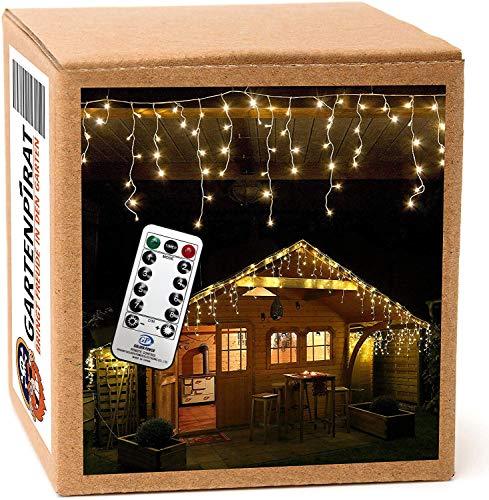 480 LED Lichterkette Eisregen warmweiß 12m Timer Programme Fernbedienung - Kabel weiß