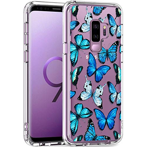 LUHOURI Samsung Galaxy S9 Plus Case Clear with Blue Butterflies Design for Girls Women,Shockproof Hard PC Cover and Soft TPU Bumper Slim Fit Protective Phone Case for Galaxy S9+ Plus 6.2 inch