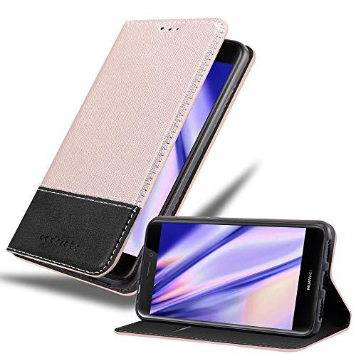 Cadorabo Funda Libro para Huawei P8 Lite 2017 en Rosa Oro Negro - Cubierta Proteccíon con Cierre Magnético, Tarjetero y Función de Suporte - Etui Case Cover Carcasa