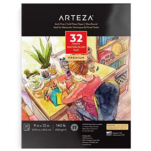 Arteza 9'x12' Watercolor Pad, 32 Sheets, 140lb/300gsm, Glue Bound, Cold Pressed, Acid Free Watercolor Paper Pad, Art Supplies for Wet, Dry & Mixed Media