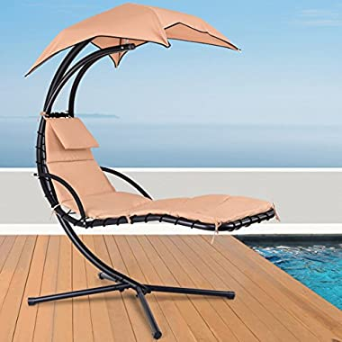 Giantex Hanging Chaise Lounger Chair Arc Stand Porch Swing Hammock Chair W/Canopy Large Weight Capacity (khaki)