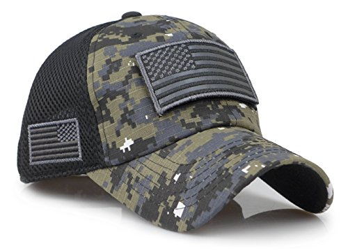 The Sox Market Camouflage Constructed Trucker Special Tactical Operator Forces USA Flag Patch Baseball Cap (Digital Black)