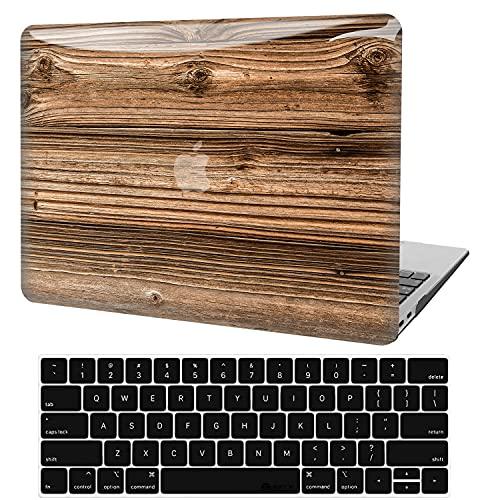 Custodia per MacBook Pro 13 Pollici 2020-2016 Versione A2338 M1 A2289 A2251 A2159 A1989 A1706 A1708, Custodia Rigida Plastica 3D Liscia Legno + Cover per Tastiera per Mac Pro 13 Touch Bar e Touch ID