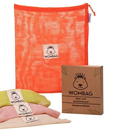 WOMBAG Rainbow-Edition 4er Set Wiederverwendbare Obst- und Gemüsebeutel aus Bio Baumwolle in rot/rosa/grün/beige