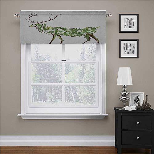 """Interestlee Antlers Valances for Bathroom Designer Deer Illustration Elk Leave Greenery Garden Traditional Celebration for Bathroom/Kitchen Windows Green Brown White, 54"""" x 18"""""""