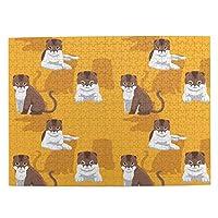 500ピース ジグソーパズル かわいい猫 オレンジ色の背景 パズル 木製パズル 動物 風景 絵 ピクチュアパズル Puzzle 52.2x38.5cm