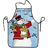 Myrdora Winter The Joy of Giving Snowman Feed The Birds Grembiuli da cucina Grembiule regolabile con cravatta Lunga