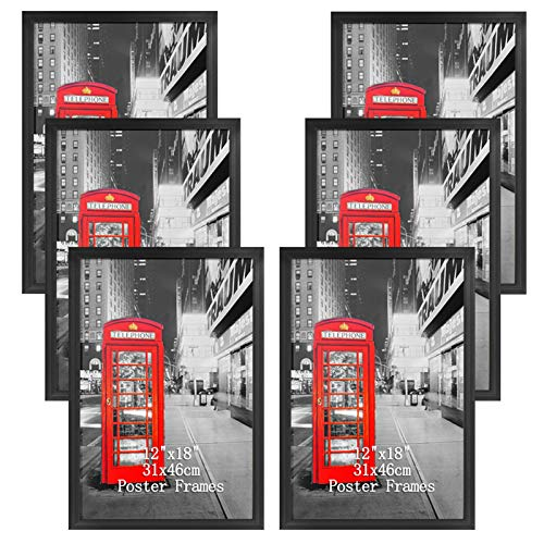 Lavezee 12x18 Black Picture Frames Set of 6, Gallery Poster Frame Made to Display 12 by 18 Inch Photos for Wall Hanging