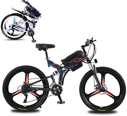 Bicicleta eléctrica de nieve, 26' plegable bicicleta de montaña eléctrica, bicicletas de alta de acero al carbono Eléctrica en adultos, Suspensión 10Ah Batería de litio completo hidráulico del freno d