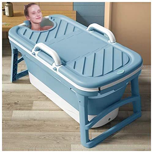 WCX Kids Draagbare Opvouwbare Badkuip Zwembad Grote Vrijstaande Hoek Badkuip Emmer Voor Volwassene/Oudere SPA Verhoging Lange Isolatietijd Met Cover 125x54x38cm Blauw