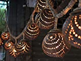 New Wooden Hanging Lamp Made of 7 Coconut Shell, Night Light Wood Shades Handmade
