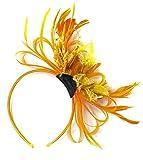 Color naranja y oro Net Pelo Tocado de boda diadema de plumas de aro Royal Ascot Races
