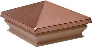 Woodway Copper Pyramid 6x6 Post Cap – Premium Cedar Wood Base Post Cap, Newel Post Top 6 x 6, Fits Up to 5.5 x 5.5 Inch Post, 1 PC