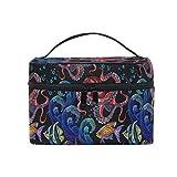 HaJie - Bolsa de maquillaje de gran capacidad para llevar a la mano con pulpo de pescado tropical, portátil, bolsa de almacenamiento, bolsa de lavado...